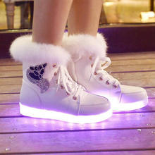 Autumn and Winter LED Ankle Boots With High Heels Boots Shoes Black White Women luminous Ankle Boots