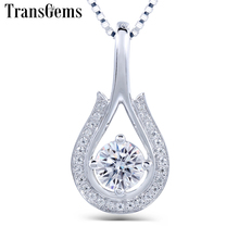 TransGems 0.5 Carat 5mm Lab Grown Moissanite Diamond Solitaire Pendant Necklace 18K White Gold for Women jewelry Wedding