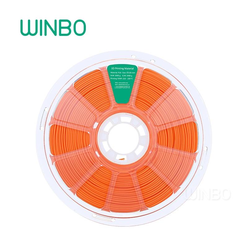 3D Printer PLA filament 3mm 3 kg ORANGE Winbo 3D plastic filament Eco-friendly Food grade 3D printing materials Free Shipping rq wooden 3d printer filament pla 1 75mm 3d wood printing materials 1kg plastic rubber consumables material