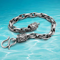 retro mysterious Caribbean Pirate Ship Thai silver men's bracelet 925 sterling silver bracelets men