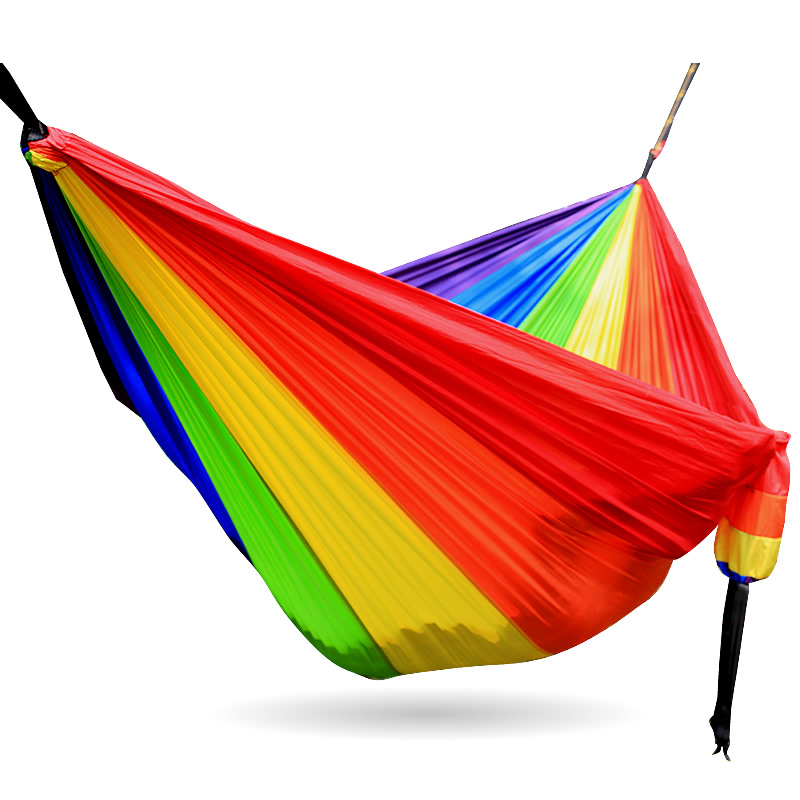 Rainbow Hammock Nylon Parachute Fabric 2 Person Hammock