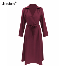 Jusian Women's Fashion Office Lady Turn-Down Collar Bowknot Long Dress Solid Color Long Dress  F-1464