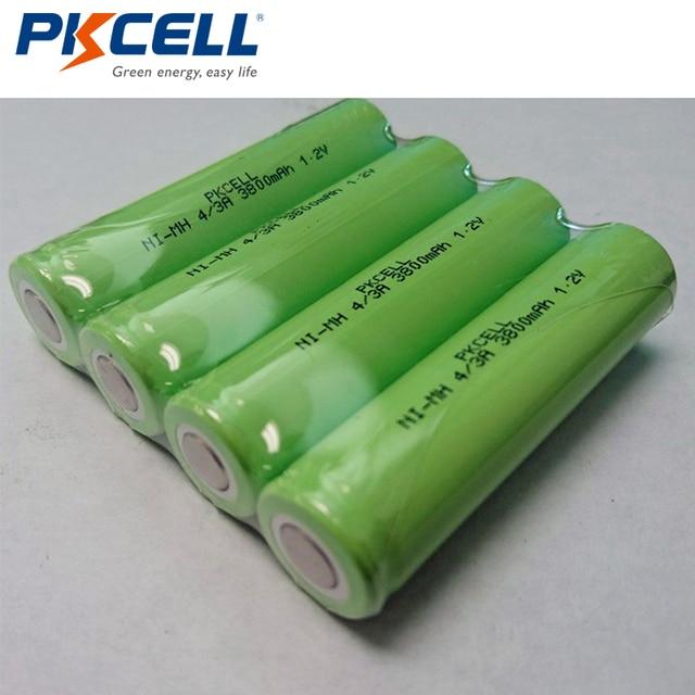 4Pcs PKCELL 4/3A 1.2V NiMH 충전식 배터리 17670 18670 3800mAh 의료 기기 처리 배터리 팩