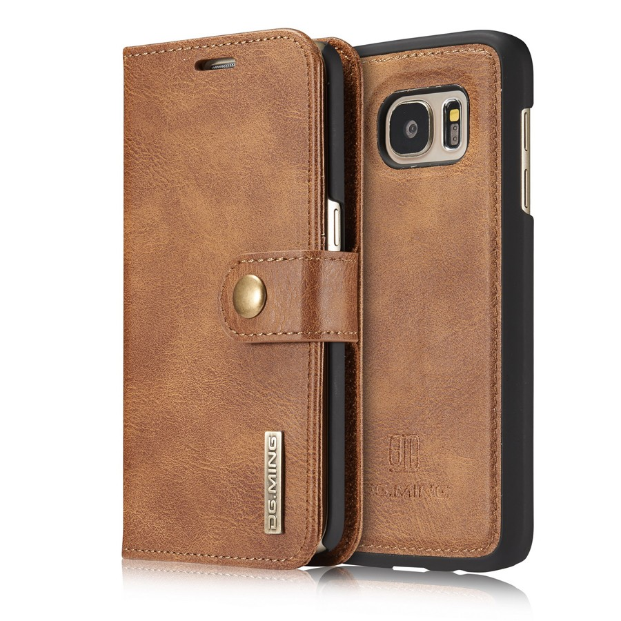 Dual Material PU with Genuine Leather Flip <font><b>Case</b></font> for <font><b>OnePlus</b></font> <font><b>6</b></font> A6000 A6003 Removable Back Cover Metal Logo Built-in <font><b>Magnet</b></font> Retro image