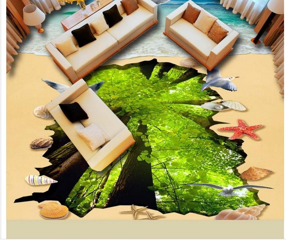 ФОТО 3d wallpaper pvc floor tiles Beach woods 3D flooring floor 3d wallpaper waterproof wallpaper for bathroom wall