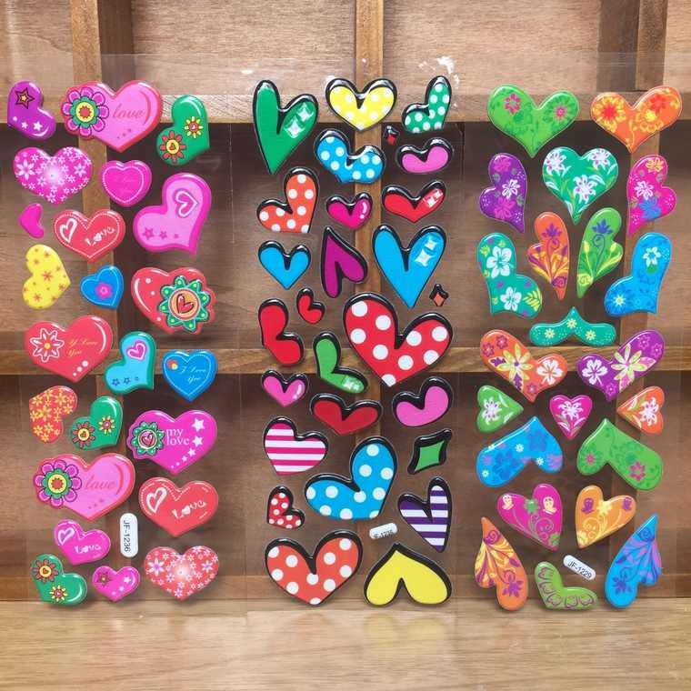 5 Pcs 3D Puffy Bubble Waterpoof Adesivi Amore Del Cuore Sticker per I Bambini I Bambini Della Ragazza del Ragazzo FAI DA TE Giocattoli di compleanno regalo Di Natale YYY GYH