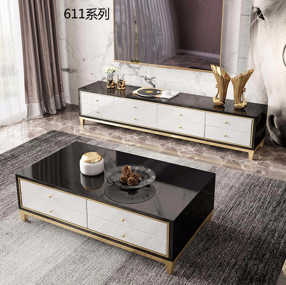 Tempered Glass Coffee Table With Drawers: XM611 Tempered Glass Surface Solid Wood Drawer, 304