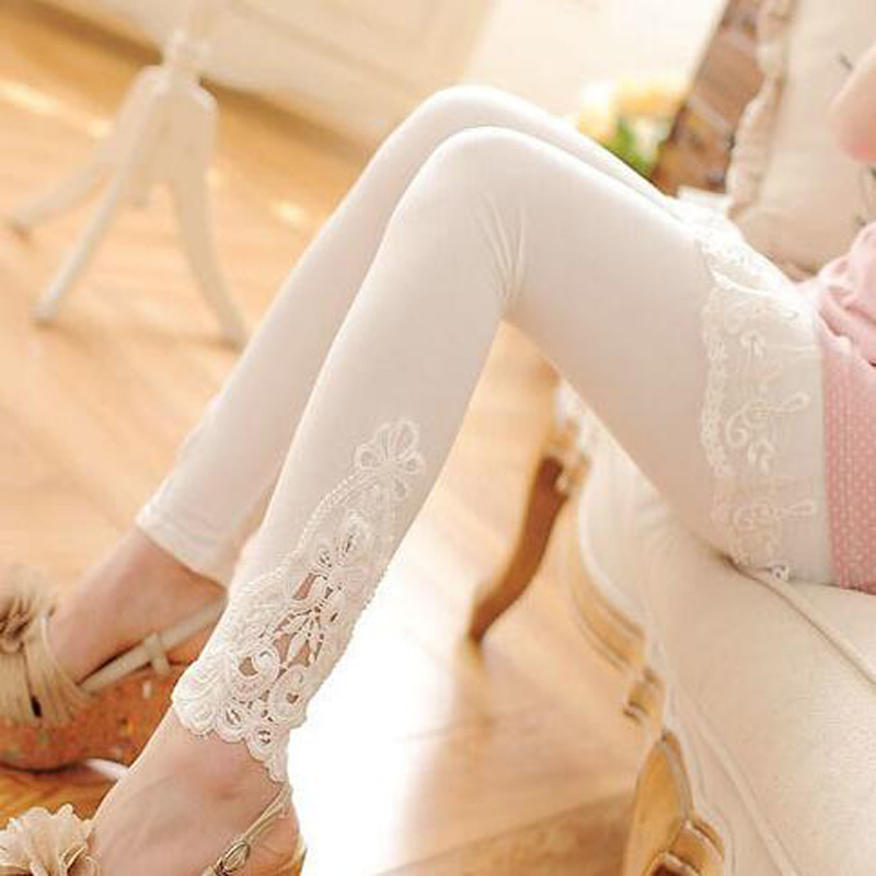 Cotton Leggings XS-7XL Plus Size Leggings Lace Decoration Women's Jeggings Plus Size 7XL 6XL 5XL 4XL 3XL White Black Purple Pink