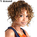 Peruca Resistant Synthetic ombre brown rooted blonde Afro kinky curly Wig Heat Wig short hair wigsfor America Africa Women