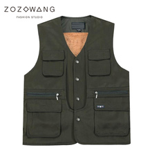 Zozowang autumn winter new high quality brushed short vest men plus size solid casual v neck loose multi pocket waistcoat men  все цены