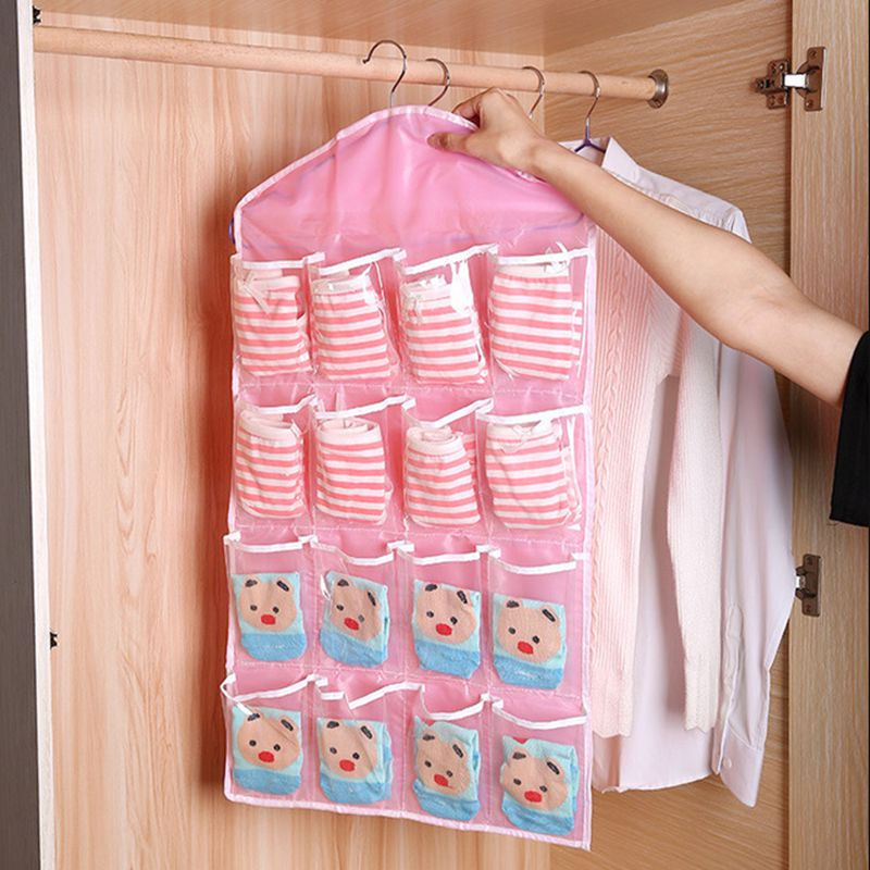2PCS/lot 16 Grids Clear Hanger Storage Organizer Bag for Socks Clothes Socks Bra Underwear Garment Suit Coat Rack Dust Cover S03 image