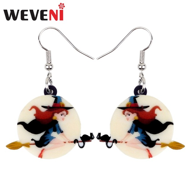 weveni acrylic magical halloween broomstick witch earrings round drop dangle big cartoon fashion jewelry for women
