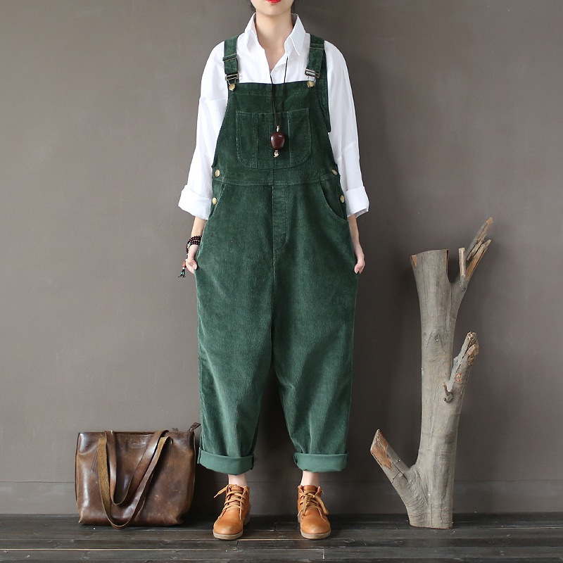 Cotton Corduroy Jumpsuit Women Loose Casual Fashion Bodysuit Autumn Vintage Strap Women Rompers Solid Black Green Brown A217