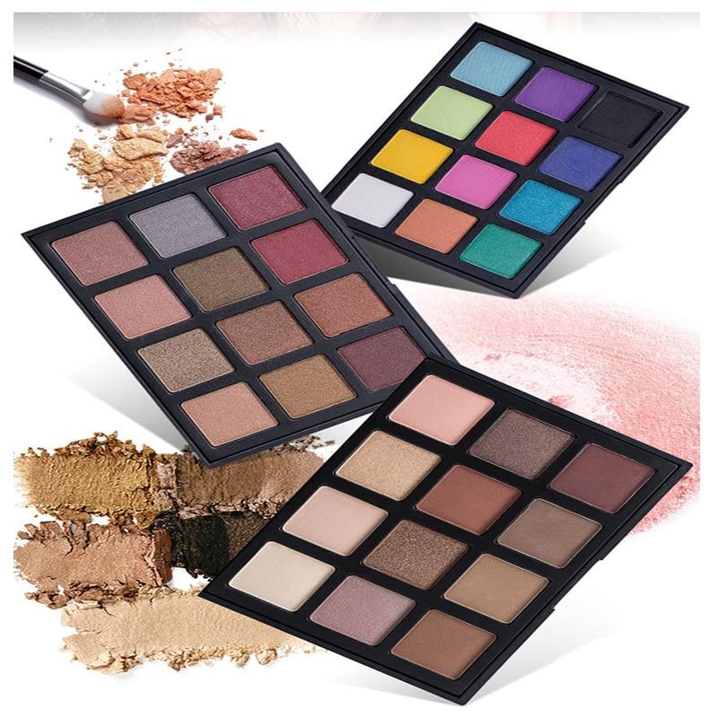 12 Color  Shimmer Matte Eyeshadow Palette Cosmetics Glitter Eye Shadow powder Smoky Eye  Makeup Set Waterproof for Women
