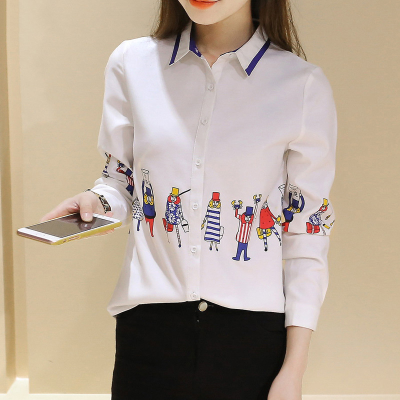 2016 New Casual White Shirts Long Sleeve Women Blouses Cartoon Print Literary College Style Turn Down Collar Cotton Shirts Lady