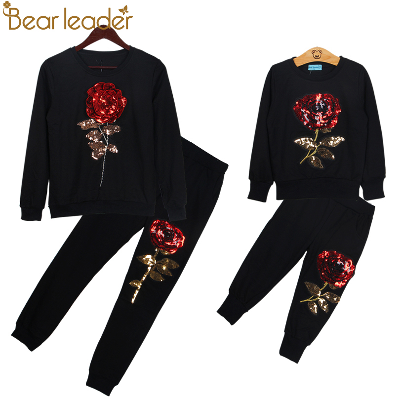 Bear Leader 2019 New Spring Style Family Matching Outfits Mother And Daughter Long Sleeve Rose Floral Sweatshirt+Pants 2Pcs Suit