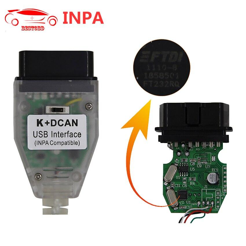 Prix pour Pour BMW INPA K + CAN Avec FTDI FT232RQ Puce avec Interrupteur K + D PEUT USB OBD Interface INPA Compatible Pour BMW K-LINE protocole