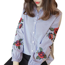 Autumn Shirts Women's Office Work Long Sleeve Tops Large Size Pinstripe Embroiderey Floral Turn-down Blouses Ladies Shirt