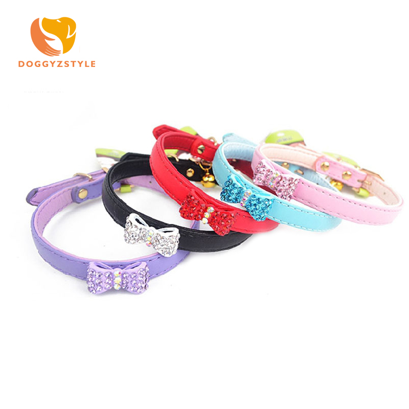 All Season 5 Colors Pet Dog Cat Diamond Bow Tie Collar Durable PU Leather Adjustable Puppy Cat Strap Collar S M DOGGYZSTYLE