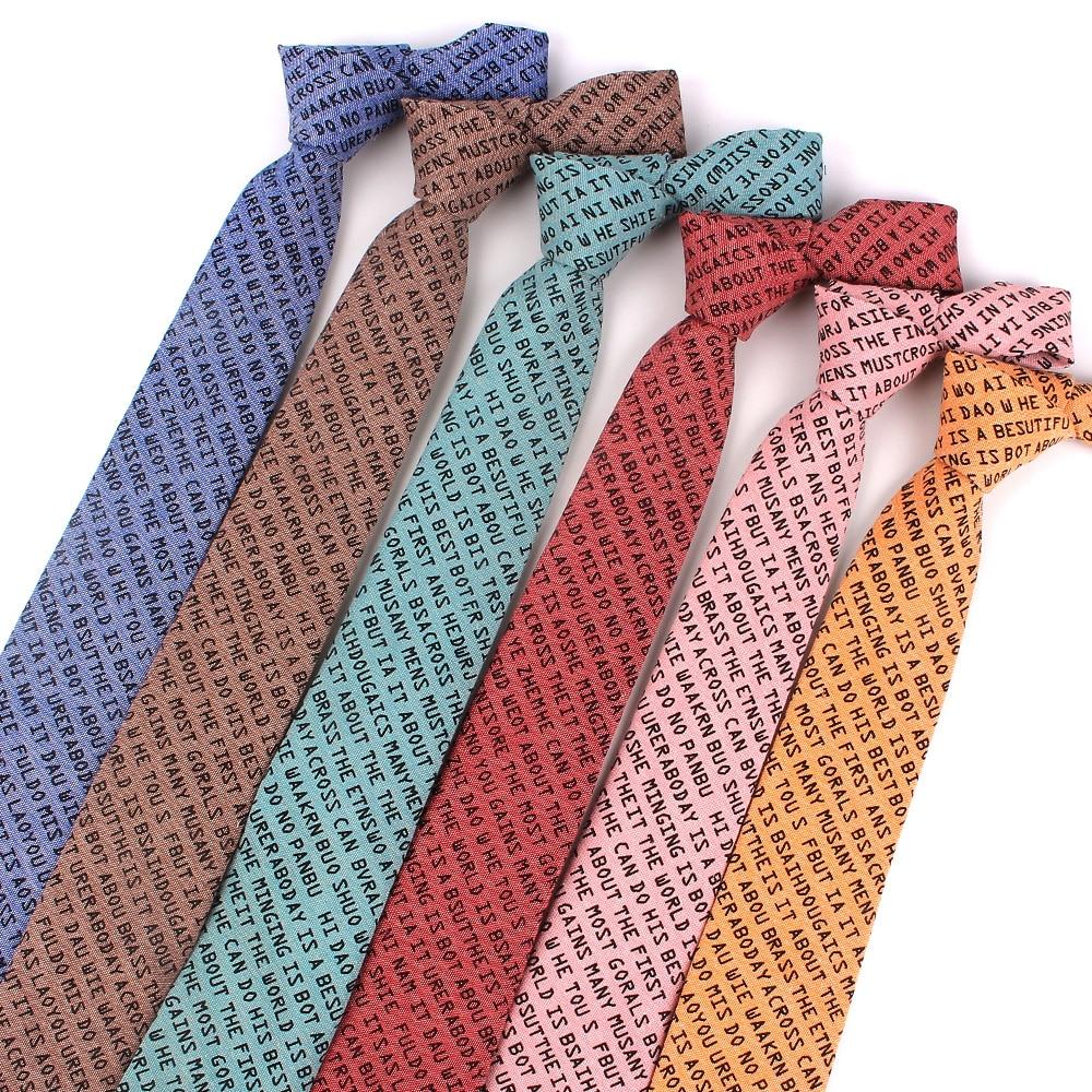 Fashion Letter Print Ties For Men Skinny Men Neck Tie For Wedding Business Casual Neckties Classic Suits Slim Neck Ties Gravatas