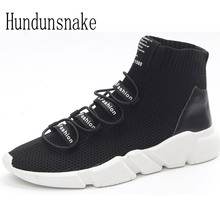Hundunsnake Black Knitted Trail Socks Sneakers Women 2017 Running Shoes High Top Gumshoes Women Sport Shoes Female Krasovki T386