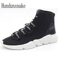 Hundunsnake Black Knitted Trail Socks Sneakers Women 2017 Running Shoes High Top Gumshoes Women Sport Shoes