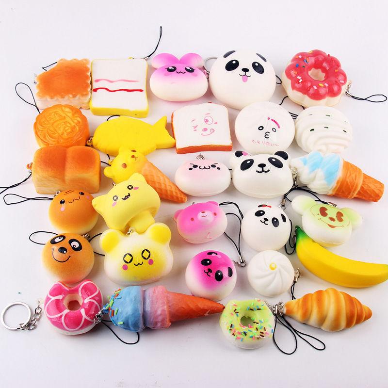 Купить с кэшбэком Wholesale 30pcs Squishy Toys Children Slow Rising Anti stress Toy Animal Panda Bread Cake Squishy Relief Toy Funny Kids Gift