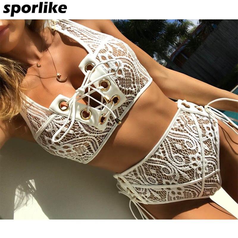 Sporlike Blcak Blanc Dentelle Taille Haute Maillot de Bain Bikini Ensemble 2017 Sexy Solide Bikinis Femmes Push Up Maillots De Bain Banting Costume De Bain