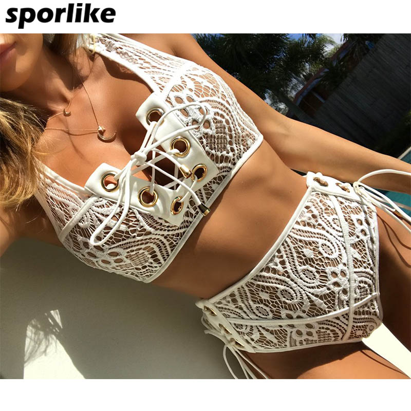 Sporlike Blcak Branco Rendas Cintura Alta Swimsuit Bikini Set 2017 Sexy Biquínis Sólida Banting Das Mulheres Empurrar Para Cima Swimwear Terno de Natação