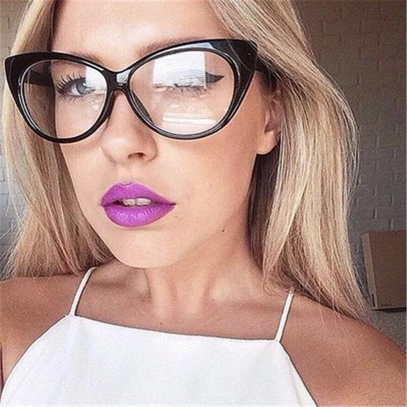 2018 Katze Brillen Rahmen Für Frauen Brillen Transparent Klar Objektiv Keine Grad Mutter Und Tochter Dekorative Schwarz Brillen