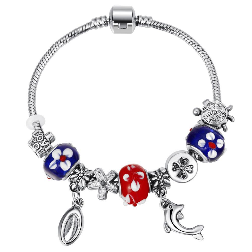 Pink Crystal Charm Silver Bracelets & Bangles for Women  Beads Silver Bracelet Femme Jewelry 9
