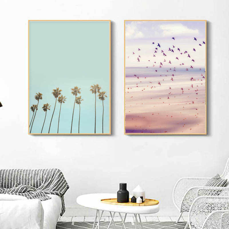 Nordic Black White Wall Art Ocean Wave Beach Canvas Painting Palm Tree Posters and Prints Pastel Pictures for Living Room Decor