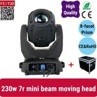 4pcs + Flight Case New Small Mini 7r Beam 230 Moving Head Dj Light Mini Beam Projetor Sharpy Beam 7r Lyre Dmx Diso Party Lights