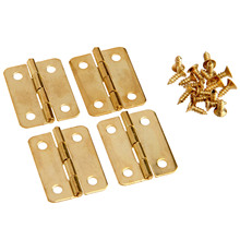 4Pcs 24x18mm 1 Kitchen Cabinet Door Hinges Furniture Accessories 4 Holes Gold Drawer Hinge for Jewelry Boxes Fittings