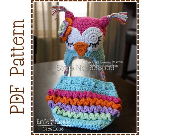 Envío gratis Crochet Búho Sombrero y Cubierta del Pañal de La Colmena Patrones-Ear Flap recién nacido accesorios de fotografía