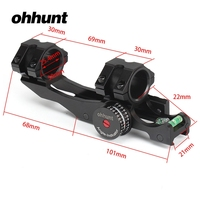 ohhunt 25.4mm 30mm Offset Bi direction Picatinny Weaver Scope Rings Mount w/ Angle Cosine Indicator Kit and Bubb Level Compass
