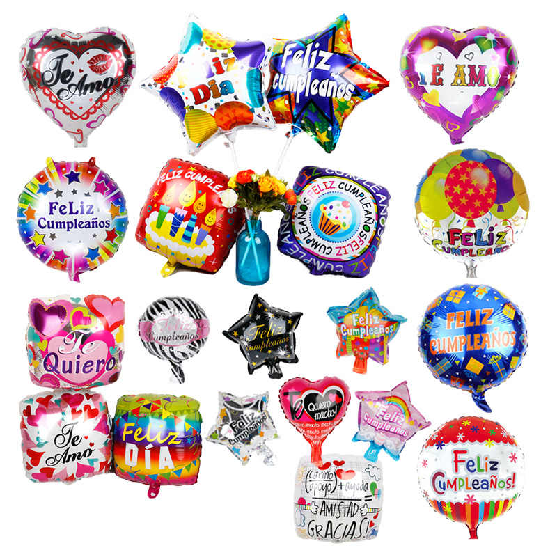 1pc 18inch birthday party supplies Spanish Feliz Cumpleanos Foil Balloon TE AMO Wedding decor Baloes 10inch heart star air globo
