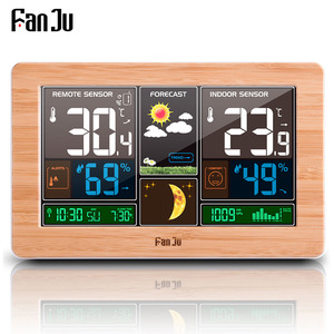 Image 1 - FanJu תחנת מזג דיגיטלי שעון קיר אזעקה אלחוטי חיישן מדחום מדדי לחות ברומטר תחזית שולחן שולחן העבודה FJ3378