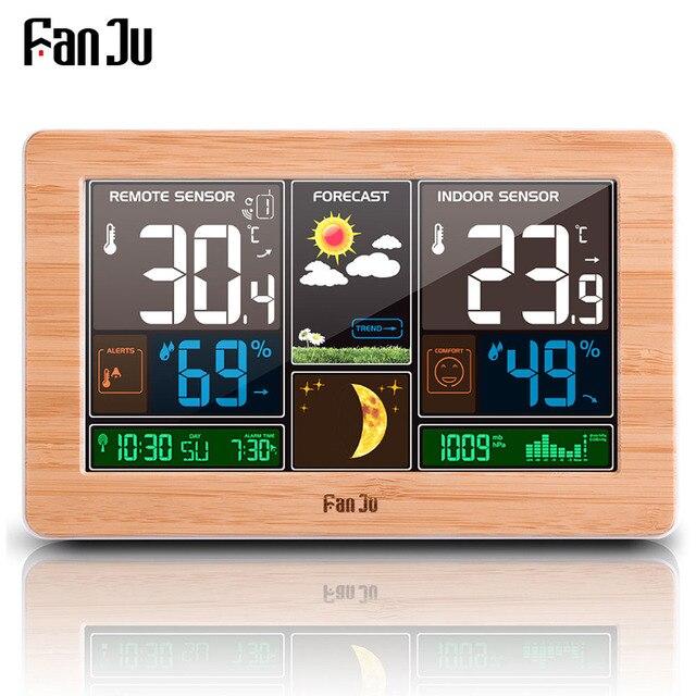 FanJu תחנת מזג דיגיטלי שעון קיר אזעקה אלחוטי חיישן מדחום מדדי לחות ברומטר תחזית שולחן שולחן העבודה FJ3378