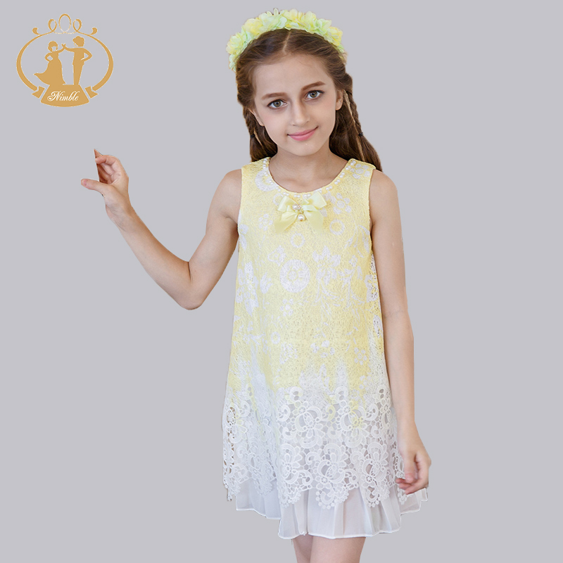 ФОТО Nimble New Casual Summer Lace Girls Dress Handmade Beading Cute Bow Holiday Style Girls Dress
