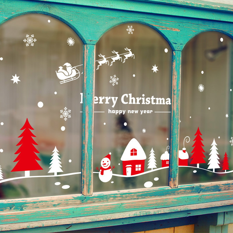Diamond Shopping Mall Shop Windows Glass Wallpaper Stickers New Year Christmas Sun Snow Sled Window Hood Stickers