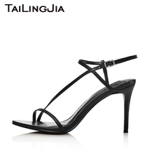 Black Open Toe 9 CM Low Heel Sexy Women Shoes Woman Sandals Buckle Slingback Ankle Strap Brand Party Wedding Shoes Hot Wholesale