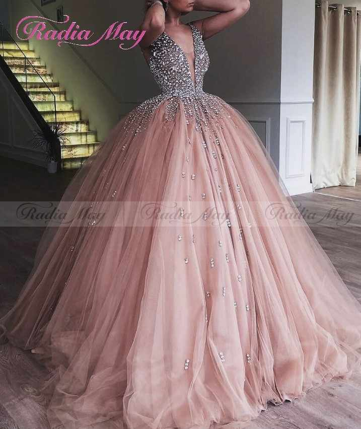 4046b19590 ... Champagne Tulle Princess Ball Gown Quinceanera Dresses 2019 Vestidos 15  anos V-Neck Crystal Sweet