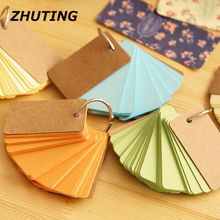 Candy Color Buckle Binder Notes Flash Cards Memo Pads DIY Blank Card Writing Pads Sticky Notes