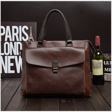 Fashion Men Briefcase Genuine Leather Handbag Male  Laptop Bag Real Leather Bussiness Shoulder Bag for Men недорого