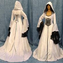 Ladies Medieval Hooded Back Tie Waist Lace Panel Vintage Dress Cosplay