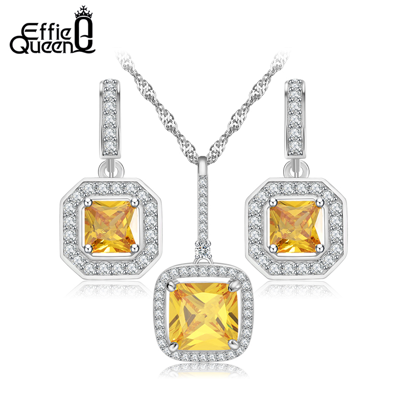 cdf2175d3 Effie Queen Luxury Design Wedding Jewelry New Fashion White Gold Color  Yellow Austrian Zircon Jewelry Sets Women Gift WS74-in Bridal Jewelry Sets  from ...