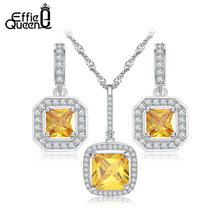 Effie Reina Diseño de Lujo Oro Blanco Plateado Joyería de La Boda Nueva Moda Amarillo DAS018 Austriaco Circón Sistemas de la Joyería de Regalo de Las Mujeres