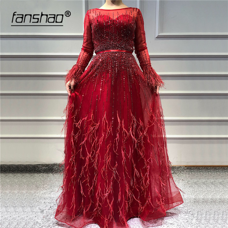 Red Muslim Evening Dresses Long Sleeves Beautiful Beads Feathers Tulle Dubai Saudi Arabic Evening Gown Prom Dress