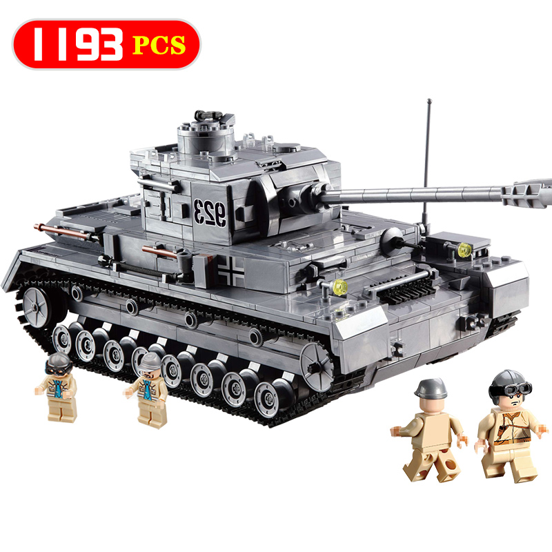 New 1193PCS Military 923 Compatible Legoingly Army ww2 PZKPFW-IV War Tank Model With Germany Soldiers Building Blocks Kids Toys mini transportation army military blocks assembled car tank compatible legoingly building brick handmade model toy for kids gift